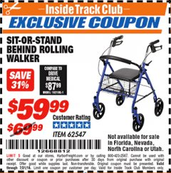 Harbor Freight ITC Coupon SIT-OR-STAND BEHIND ROLLING WALKER Lot No. 62547 Expired: 7/31/18 - $59.99