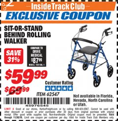Harbor Freight ITC Coupon SIT-OR-STAND BEHIND ROLLING WALKER Lot No. 62547 Expired: 10/30/18 - $59.99