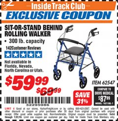 Harbor Freight ITC Coupon SIT-OR-STAND BEHIND ROLLING WALKER Lot No. 62547 Expired: 1/31/19 - $59.99