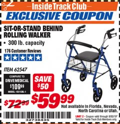 Harbor Freight ITC Coupon SIT-OR-STAND BEHIND ROLLING WALKER Lot No. 62547 Expired: 9/30/19 - $59.99