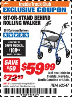Harbor Freight ITC Coupon SIT-OR-STAND BEHIND ROLLING WALKER Lot No. 62547 Expired: 6/30/20 - $59.99