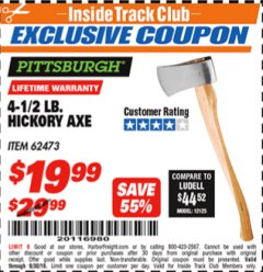 Harbor Freight ITC Coupon 4-1/2 LB. HICKORY AXE Lot No. 62473/98096 Expired: 9/30/18 - $19.99
