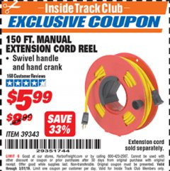 Harbor Freight ITC Coupon 150 FT. MANUAL EXTENSION CORD REEL Lot No. 62954/39343 Expired: 3/31/19 - $5.99