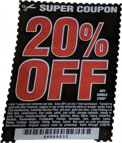 Harbor Freight Coupon 20 percent off coupon expires: 5/28/19