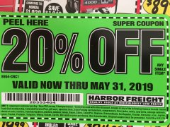 Harbor Freight Coupon 20 percent off coupon expires: 5/31/19