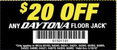 Harbor Freight Coupon 20 percent off coupon expires: 5/19/19