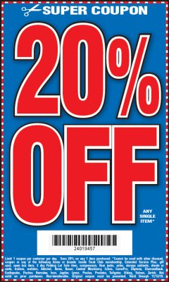 Harbor Freight Coupon 20 percent off coupon expires: 11/13/19