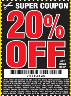 Harbor Freight Coupon 20 percent off coupon expires: 6/28/20