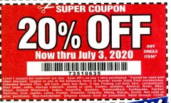 Harbor Freight Coupon 20 percent off coupon expires: 7/3/20