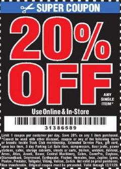 Harbor Freight Coupon 20 percent off coupon expires: 12/11/20