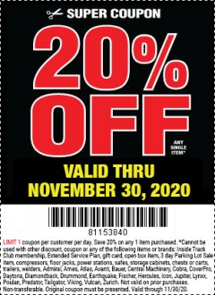 Harbor Freight Coupon 20 percent off coupon expires: 11/30/20