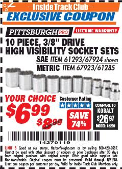 "Harbor Freight ITC Coupon 10 PIECE, 3/8"" DRIVE HIGH VISIBILITY SOCKET SETS Lot No. 61293/67924/67923/61285 Expired: 5/31/18 - $6.99"