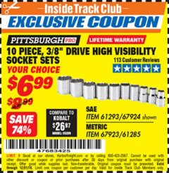 "Harbor Freight ITC Coupon 10 PIECE, 3/8"" DRIVE HIGH VISIBILITY SOCKET SETS Lot No. 61293/67924/67923/61285 Expired: 12/31/18 - $6.99"
