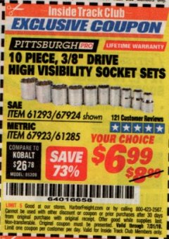"Harbor Freight ITC Coupon 10 PIECE, 3/8"" DRIVE HIGH VISIBILITY SOCKET SETS Lot No. 61293/67924/67923/61285 Expired: 7/31/19 - $6.99"