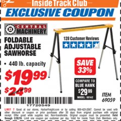 Harbor Freight ITC Coupon FOLDABLE ADJUSTABLE SAWHORSE Lot No. 69059 Expired: 2/28/19 - $19.99