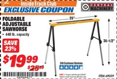 Harbor Freight ITC Coupon FOLDABLE ADJUSTABLE SAWHORSE Lot No. 69059 Valid: 2/1/20 - 2/29/20 - $19.99