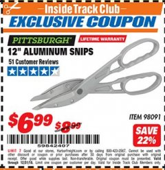 "Harbor Freight ITC Coupon 12"" ALUMINUM SNIPS Lot No. 98091 Expired: 12/31/18 - $6.99"