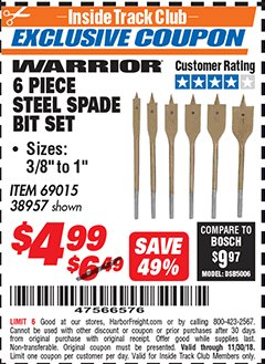 Harbor Freight ITC Coupon 6 PIECE STEEL SPADE BIT SET Lot No. 69015/38957 Expired: 11/30/18 - $4.99