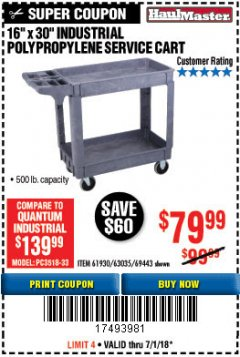 "Harbor Freight Coupon 16"" x 30"" TWO SHELF INDUSTRIAL POLYPROPYLENE SERVICE CART Lot No. 61930/92865/69443 Expired: 7/31/18 - $79.99"