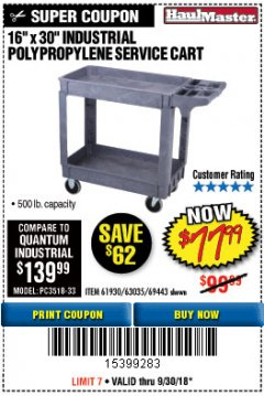 "Harbor Freight Coupon 16"" x 30"" TWO SHELF INDUSTRIAL POLYPROPYLENE SERVICE CART Lot No. 61930/92865/69443 Expired: 9/30/18 - $77.99"