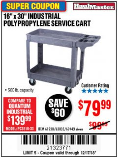 "Harbor Freight Coupon 16"" x 30"" TWO SHELF INDUSTRIAL POLYPROPYLENE SERVICE CART Lot No. 61930/92865/69443 Expired: 12/17/18 - $79.99"