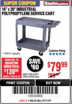 "Harbor Freight Coupon 16"" x 30"" TWO SHELF INDUSTRIAL POLYPROPYLENE SERVICE CART Lot No. 61930/92865/69443 Expired: 3/11/19 - $79.99"