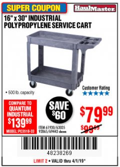 "Harbor Freight Coupon 16"" x 30"" TWO SHELF INDUSTRIAL POLYPROPYLENE SERVICE CART Lot No. 61930/92865/69443 Expired: 4/1/19 - $79.99"