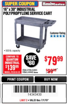 "Harbor Freight Coupon 16"" x 30"" TWO SHELF INDUSTRIAL POLYPROPYLENE SERVICE CART Lot No. 61930/92865/69443 Expired: 6/30/19 - $79.99"