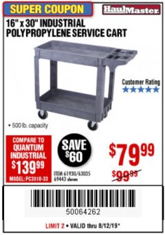 "Harbor Freight Coupon 16"" x 30"" TWO SHELF INDUSTRIAL POLYPROPYLENE SERVICE CART Lot No. 61930/92865/69443 Expired: 8/12/19 - $79.99"