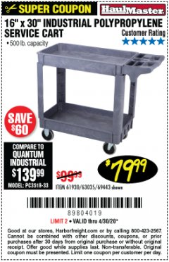 "Harbor Freight Coupon 16"" x 30"" TWO SHELF INDUSTRIAL POLYPROPYLENE SERVICE CART Lot No. 61930/92865/69443 Expired: 6/30/20 - $79.99"