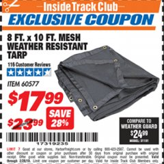 Harbor Freight ITC Coupon 8 FT. X 10 FT. MESH WEATHER RESISTANT TARP Lot No. 96943/60577 Valid Thru: 2/28/19 - $17.99