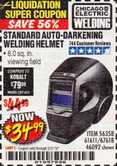 Harbor Freight Coupon WELDING HELMET Lot No. 61611 EXPIRES: 5/31/19 - $34.99