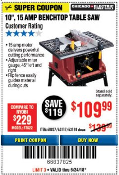 "Harbor Freight Coupon 10"", 15 AMP BENCHTOP TABLE SAW Lot No. 45804/63117/64459/63118 Expired: 6/24/18 - $109.99"