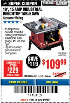 "Harbor Freight Coupon 10"", 15 AMP BENCHTOP TABLE SAW Lot No. 45804/63117/64459/63118 Expired: 9/2/18 - $109.99"