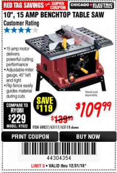 "Harbor Freight Coupon 10"", 15 AMP BENCHTOP TABLE SAW Lot No. 45804/63117/64459/63118 Expired: 12/31/18 - $109.99"