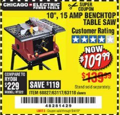 "Harbor Freight Coupon 10"", 15 AMP BENCHTOP TABLE SAW Lot No. 45804/63117/64459/63118 Expired: 5/4/19 - $109.99"