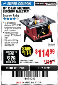 "Harbor Freight Coupon 10"", 15 AMP BENCHTOP TABLE SAW Lot No. 45804/63117/64459/63118 Expired: 2/17/19 - $114.99"