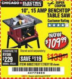 "Harbor Freight Coupon 10"", 15 AMP BENCHTOP TABLE SAW Lot No. 68827/63117/63118 EXPIRES: 6/15/19 - $109.99"
