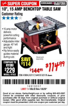 "Harbor Freight Coupon 10"", 15 AMP BENCHTOP TABLE SAW Lot No. 45804/63117/64459/63118 Expired: 1/6/20 - $114.99"