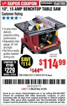 "Harbor Freight Coupon 10"", 15 AMP BENCHTOP TABLE SAW Lot No. 45804/63117/64459/63118 Expired: 4/1/20 - $114.99"