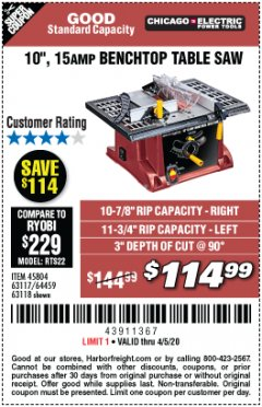 "Harbor Freight Coupon 10"", 15 AMP BENCHTOP TABLE SAW Lot No. 45804/63117/64459/63118 Valid Thru: 6/30/20 - $114.99"