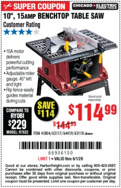 "Harbor Freight Coupon 10"", 15 AMP BENCHTOP TABLE SAW Lot No. 45804/63117/64459/63118 Valid: 3/30/20 - 6/30/20 - $114.99"