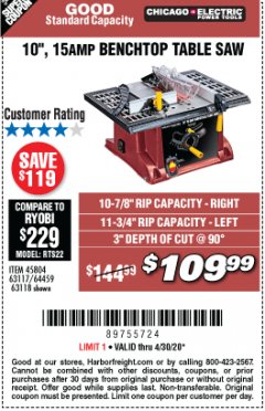 "Harbor Freight Coupon 10"", 15 AMP BENCHTOP TABLE SAW Lot No. 45804/63117/64459/63118 Valid: 3/31/20 - 6/30/20 - $109.99"
