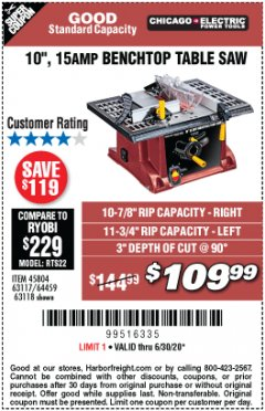 "Harbor Freight Coupon 10"", 15 AMP BENCHTOP TABLE SAW Lot No. 45804/63117/64459/63118 Valid Thru: 6/30/20 - $109.99"