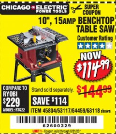 "Harbor Freight Coupon 10"", 15 AMP BENCHTOP TABLE SAW Lot No. 45804/63117/64459/63118 Valid Thru: 6/21/20 - $114.99"