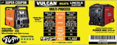Harbor Freight Coupon VULCAN OMNIPRO 220 MULTIPROCESS WELDER WITH 120/240 VOLT INPUT Lot No. 63621/80678 Expired: 11/4/18 - $869.99