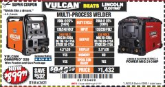 Harbor Freight Coupon VULCAN OMNIPRO 220 MULTIPROCESS WELDER WITH 120/240 VOLT INPUT Lot No. 63621/80678 Expired: 4/1/19 - $899.99