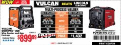 Harbor Freight Coupon VULCAN OMNIPRO 220 MULTIPROCESS WELDER WITH 120/240 VOLT INPUT Lot No. 63621/80678 Expired: 3/17/19 - $899.99