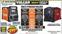 Harbor Freight Coupon VULCAN OMNIPRO 220 MULTIPROCESS WELDER WITH 120/240 VOLT INPUT Lot No. 63621/80678 Expired: 8/5/19 - $899.99