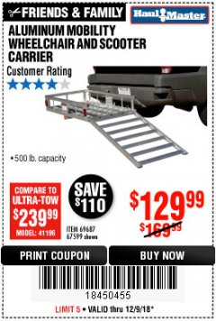 Harbor Freight Coupon 500 LB. CAPACITY ALUMINUM MOBILITY WHEELCHAIR AND SCOOTER CARRIER Lot No. 67599/69687 Expired: 12/9/18 - $129.99